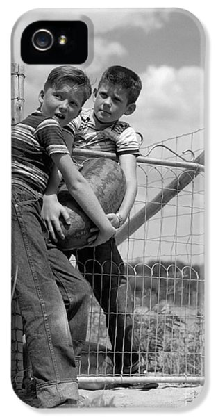 Boys Stealing A Watermelon, C.1950s IPhone 5 / 5s Case by H. Armstrong Roberts/ClassicStock