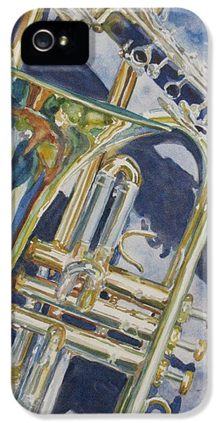 Trombone iPhone 5 Case - Brass Winds And Shadow by Jenny Armitage