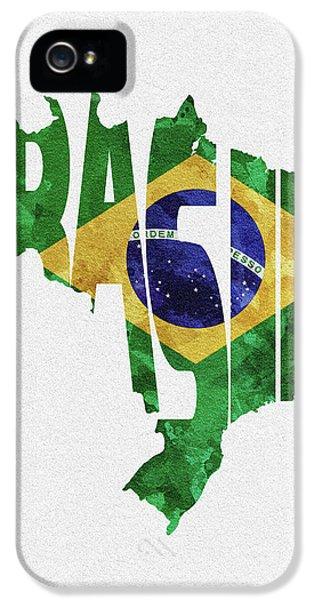 Brazil Typographic Map Flag IPhone 5 Case