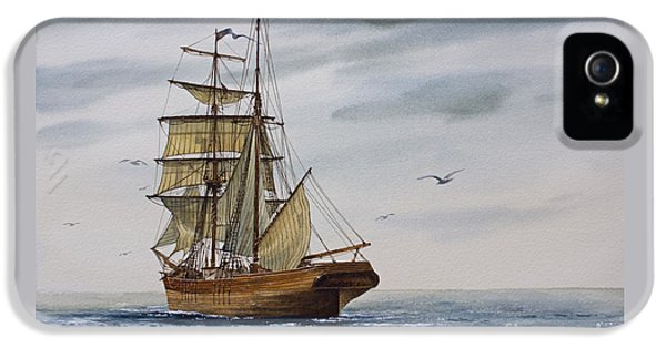Brigantine Making Sail IPhone 5 Case by James Williamson