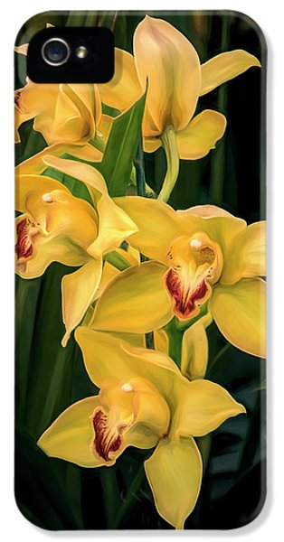 Orchid iPhone 5 Case - Bright Yellow Orchids by Tom Mc Nemar