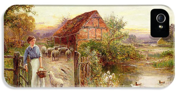 Rural Scenes iPhone 5 Case - Bringing Home The Sheep by Ernest Walbourn