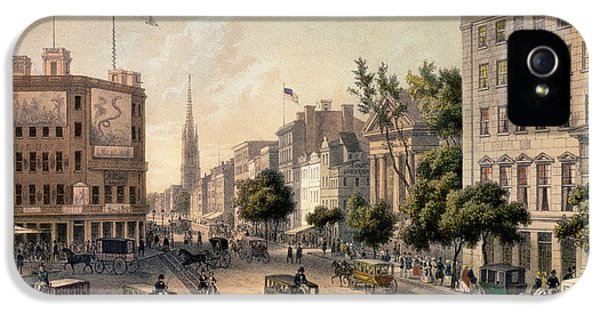 Broadway In The Nineteenth Century IPhone 5 Case by Augustus Kollner