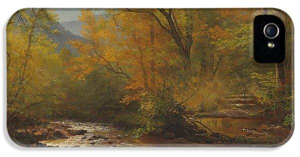 Brook In Woods IPhone 5 Case by Albert Bierstadt