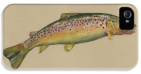 Brown Trout Jumping IPhone 5 Case by Juan Bosco