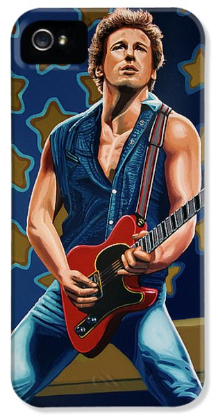 Rock And Roll iPhone 5 Case - Bruce Springsteen The Boss Painting by Paul Meijering
