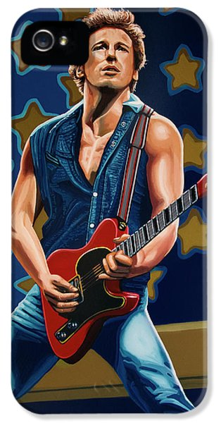Bruce Springsteen The Boss Painting IPhone 5 Case by Paul Meijering