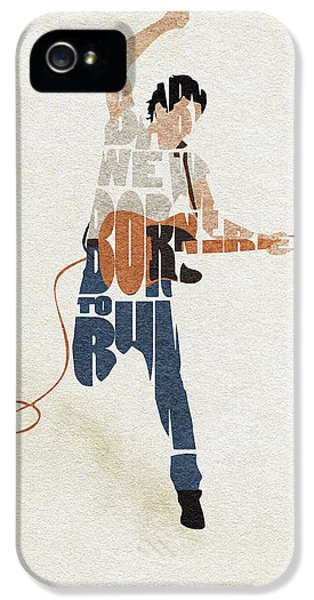 Folk Art iPhone 5 Case - Bruce Springsteen Typography Art by Inspirowl Design