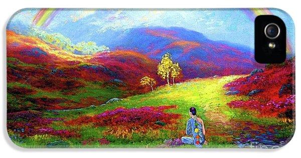 Impressionism iPhone 5 Case - Buddha Chakra Rainbow Meditation by Jane Small