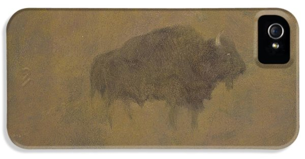 Buffalo In A Sandstorm IPhone 5 Case by Albert Bierstadt