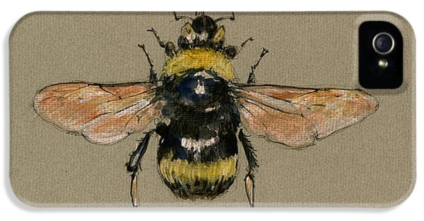 Bumble Bee Art Wall IPhone 5 Case by Juan  Bosco