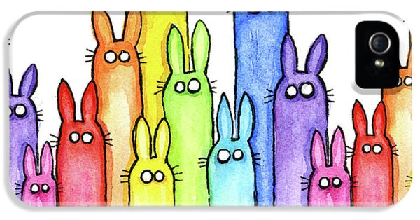 Bunny Rainbow Pattern IPhone 5 Case by Olga Shvartsur