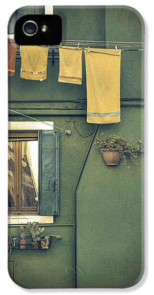 Burano - Green House IPhone 5 Case by Joana Kruse