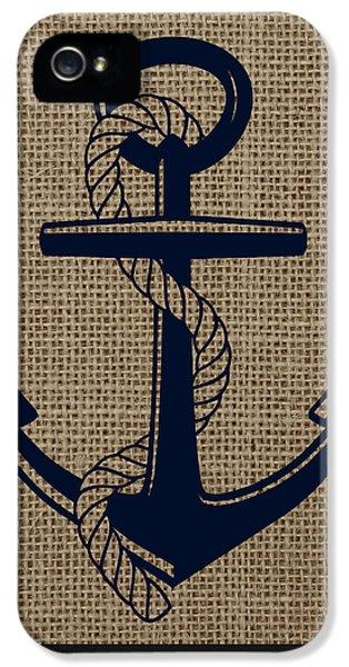 Burlap Anchor IPhone 5 Case by Brandi Fitzgerald