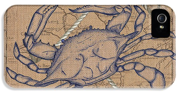 Burlap Blue Crab IPhone 5 Case
