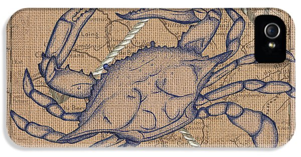 Burlap Blue Crab IPhone 5 Case by Debbie DeWitt