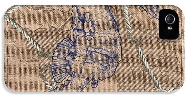 Seahorse iPhone 5 Case - Burlap Seahorse by Debbie DeWitt
