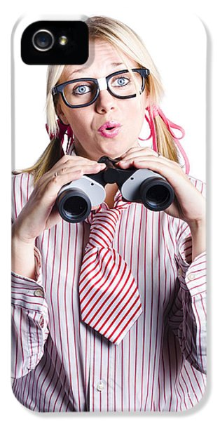 Business Woman With Binoculars IPhone 5 Case by Jorgo Photography - Wall Art Gallery