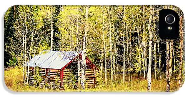 IPhone 5 Case featuring the photograph Cabin In The Golden Woods by Karen Shackles