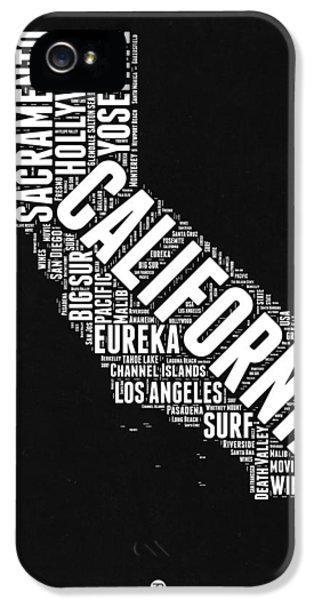 California Black And White Word Cloud Map IPhone 5 Case by Naxart Studio