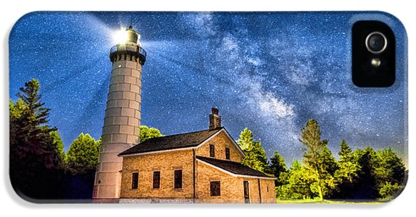 Cana Island Lighthouse Milky Way In Door County Wisconsin IPhone 5 Case by Christopher Arndt