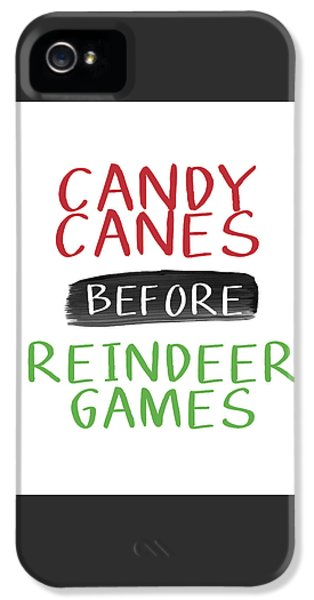 Candy Canes Before Reindeer Games- Art By Linda Woods IPhone 5 Case by Linda Woods