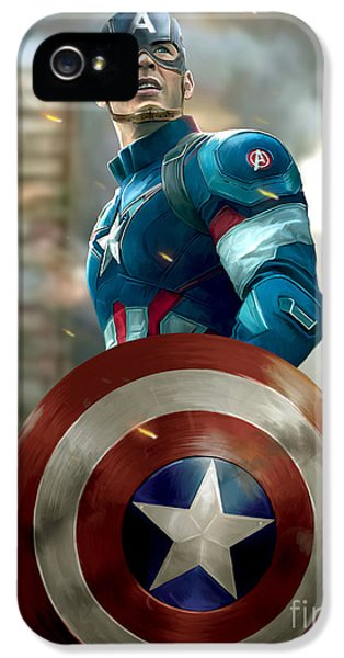 Captain America With Helmet IPhone 5 Case by Paul Tagliamonte
