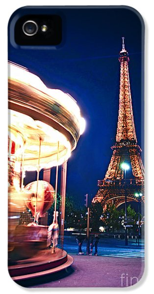 Carousel And Eiffel Tower IPhone 5 Case by Elena Elisseeva