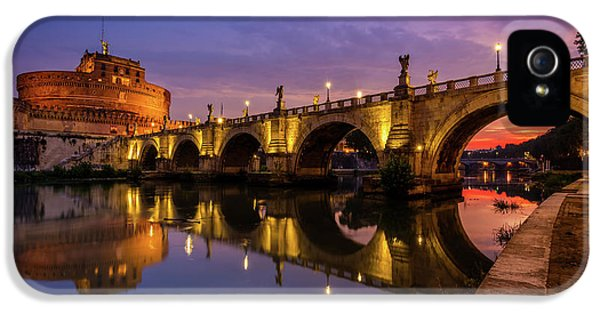 Castel Sant Angelo And The Tiber IPhone 5 Case by Inge Johnsson