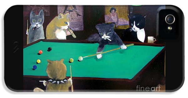 Cats Playing Pool IPhone 5 Case
