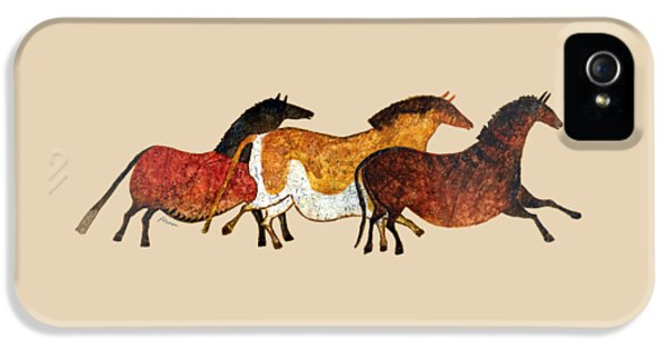 Cave Horses In Beige IPhone 5 Case by Hailey E Herrera