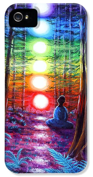 Aged iPhone 5 Cases - Chakra Meditation in the Redwoods iPhone 5 Case by Laura Iverson