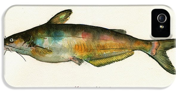 Catfish iPhone 5 Case - Channel Catfish Fish Animal Watercolor Painting by Juan  Bosco