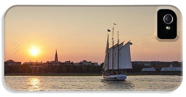 Charleston Harbor Sunset Schooner IPhone 5 Case by Dustin K Ryan