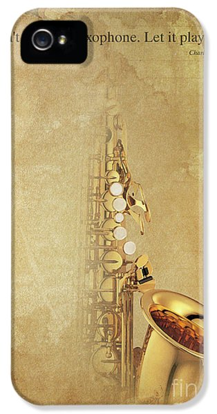 Charlie Parker Saxophone Brown Vintage Poster And Quote, Gift For Musicians IPhone 5 Case by Pablo Franchi