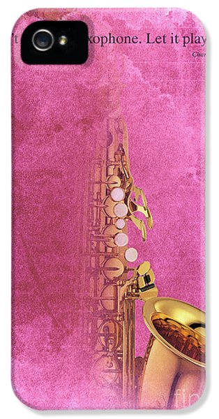 Charlie Parker Saxophone Light Red Vintage Poster And Quote, Gift For Musicians IPhone 5 Case by Pablo Franchi