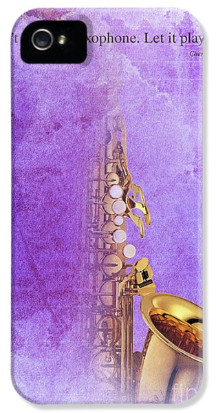 Charlie Parker Saxophone Purple Vintage Poster And Quote, Gift For Musicians IPhone 5 / 5s Case by Pablo Franchi