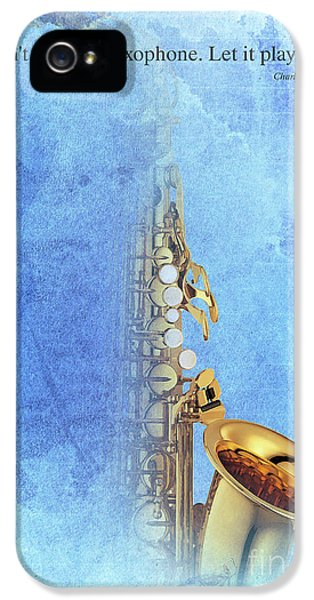 Charlie Parker Saxophone Vintage Poster And Quote, Gift For Musicians IPhone 5 Case by Pablo Franchi