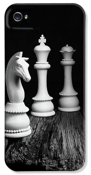 Knight iPhone 5 Case - Chess Pieces On Old Wood by Tom Mc Nemar