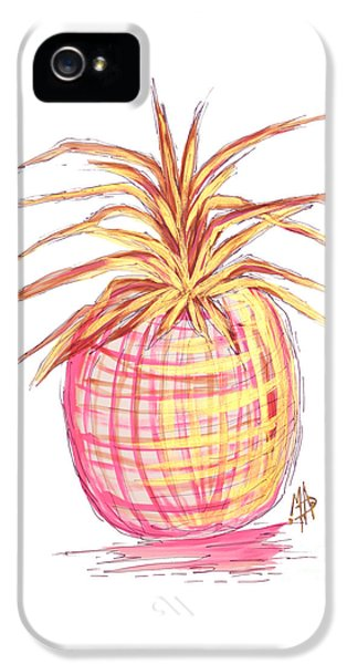 Chic Pink Metallic Gold Pineapple Fruit Wall Art Aroon Melane 2015 Collection By Madart IPhone 5 Case by Megan Duncanson