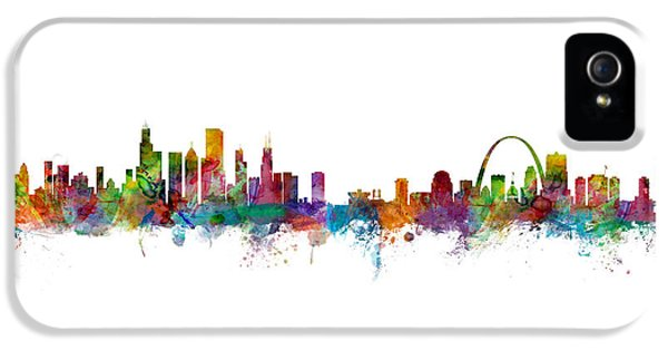 Chicago And St Louis Skyline Mashup IPhone 5 / 5s Case by Michael Tompsett
