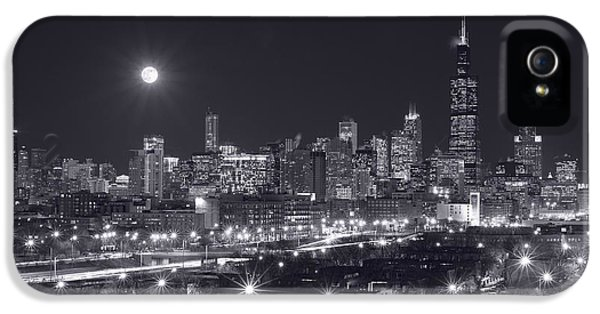 Moon iPhone 5 Cases - Chicago By Night iPhone 5 Case by Steve Gadomski