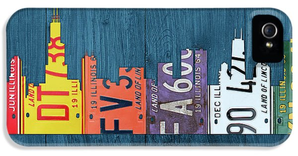 Chicago City By The Lake Recycled Vintage Skyline License Plate Art IPhone 5 Case