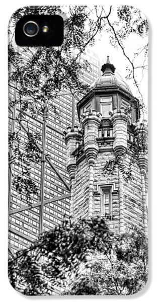 IPhone 5 Case featuring the photograph Chicago Historic Water Tower Fog Black And White by Christopher Arndt