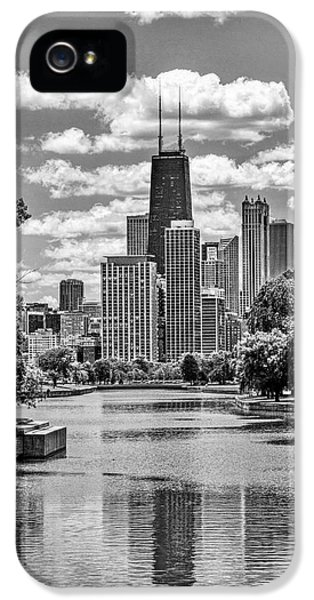 IPhone 5 Case featuring the painting Chicago Lincoln Park Lagoon Black And White by Christopher Arndt