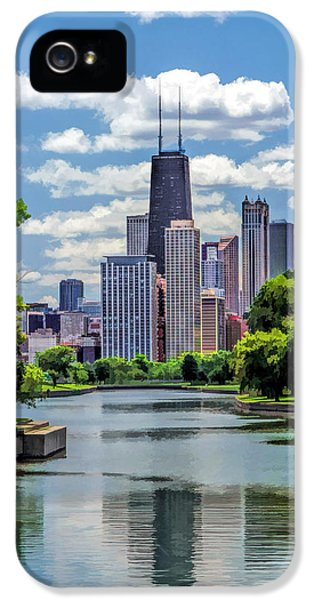 IPhone 5 Case featuring the painting Chicago Lincoln Park Lagoon by Christopher Arndt