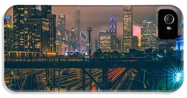 Transportation iPhone 5 Case - Chicago Night Skyline  by Cory Dewald