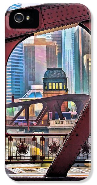 IPhone 5 Case featuring the painting Chicago River Bridge Framed by Christopher Arndt