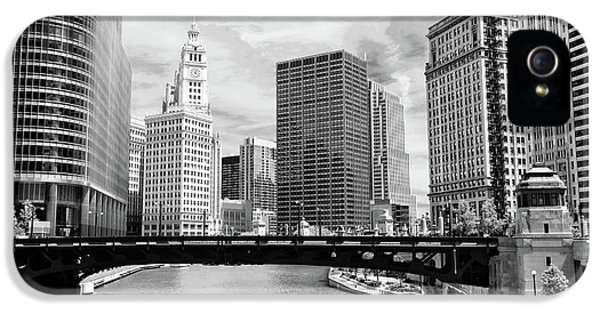 Wrigley iPhone 5 Cases - Chicago River Buildings Skyline iPhone 5 Case by Paul Velgos