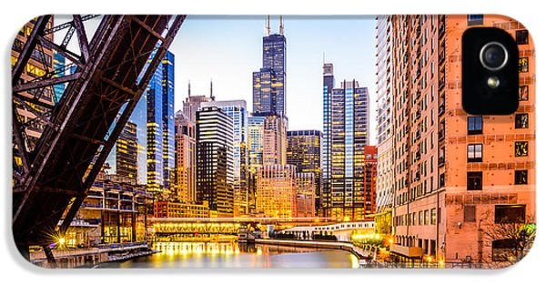 Chicago Skyline At Night And Kinzie Bridge IPhone 5 Case